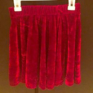 Girls burgundy velvet skirt